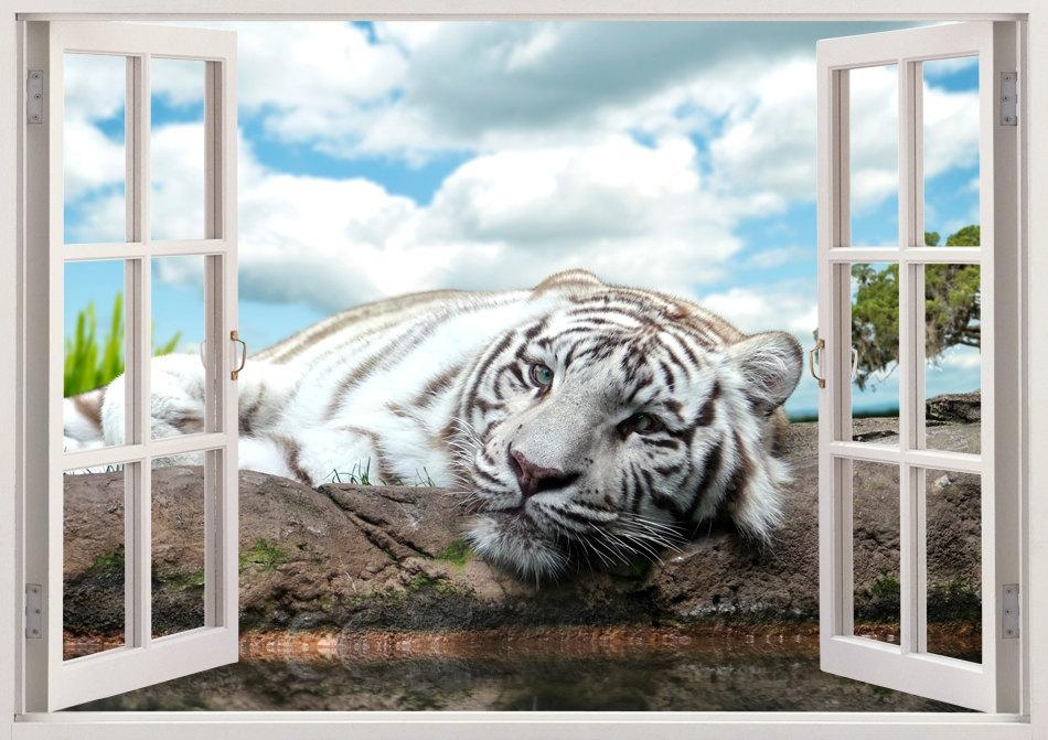 White Tiger Wall Sticker Animal 3D Window Tiger Wall Decal Intended For Animals 3D Wall Art (Image 20 of 20)