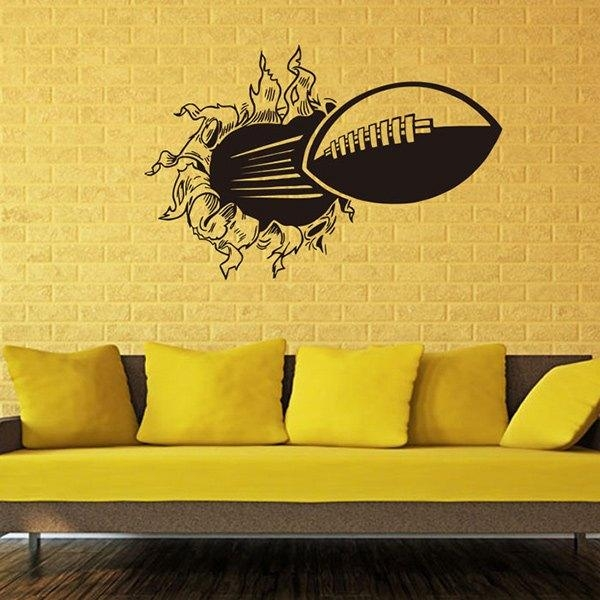 Wholesale 3D Wall Through Rugby Pattern Sports Vinyl Wall Decals Regarding 3D Wall Art Wholesale (Image 14 of 20)