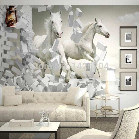 Wholesale 3D White Horse Wall Murals Wallpaper,3D Horse Custom Within 3D Wall Art Wallpaper (Image 19 of 20)