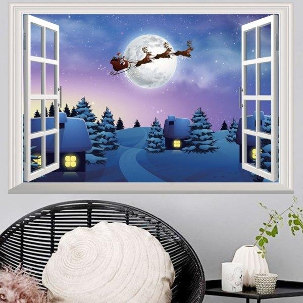 Wholesale Window Snowy Christmas Night Village 3D Wall Art Sticker Pertaining To 3D Wall Art Wholesale (Image 19 of 20)