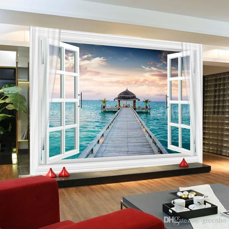 Window 3D Maldives Large Ocean View Wall Stickers Art Mural Decal With 3D Wall Art Window (View 16 of 20)