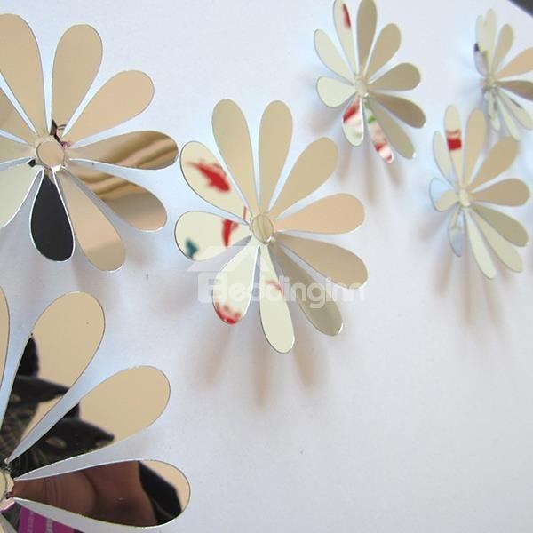 Wonderful Acrylic Mirror Surface Flower Design 3D Wall Sticker For Flowers 3D Wall Art (View 2 of 20)