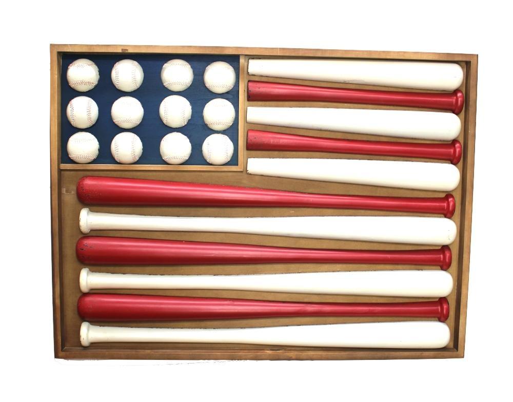 Wooden Flag Shaped Stars And Stripes Baseball Wall Art W Bats Within Baseball 3D Wall Art (Image 20 of 20)