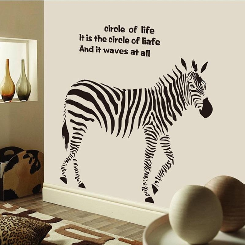 Zebra Wall Art Decals For Living Room Bedroom 3D Wallpapers On Within Zebra 3D Wall Art (Photo 2 of 20)