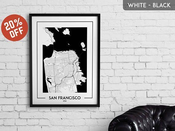 114 Best City Map Posters, Wall Art, Decor Images On Pinterest For San Francisco Map Wall Art (Image 1 of 20)