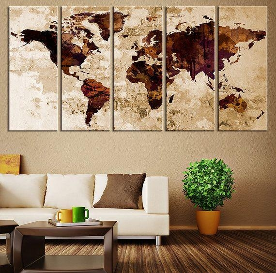119 Best Watercolor Wall Art World Map Images On Pinterest Intended For Map Wall Art Prints (Image 1 of 20)