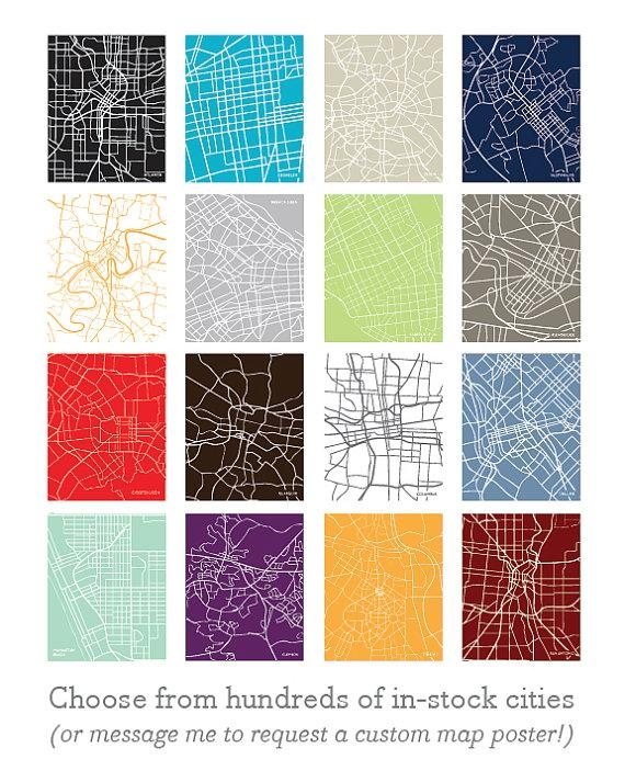 11X14 City Map Wall Art: Choose Any City And Color In With Regard To City Map Wall Art (Image 1 of 20)