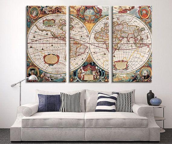 12 Best Vintage Maps Images On Pinterest | Vintage Cards, Vintage Regarding Large World Map Wall Art (Image 1 of 20)