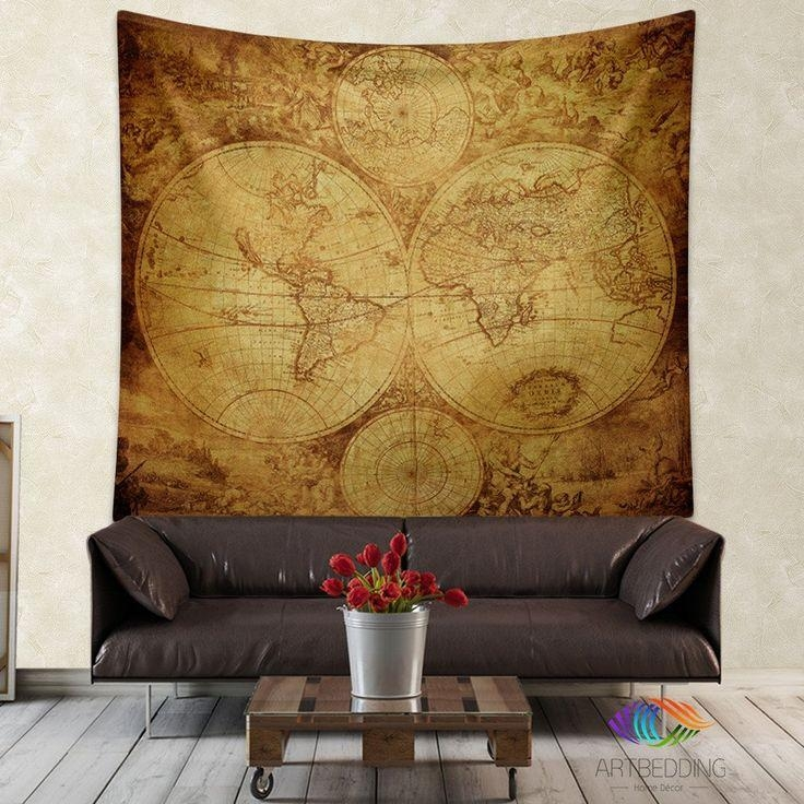 145 Best Vintage Antique World Map Decor, Wall Art Prints And Intended For Old Map Wall Art (Image 1 of 20)