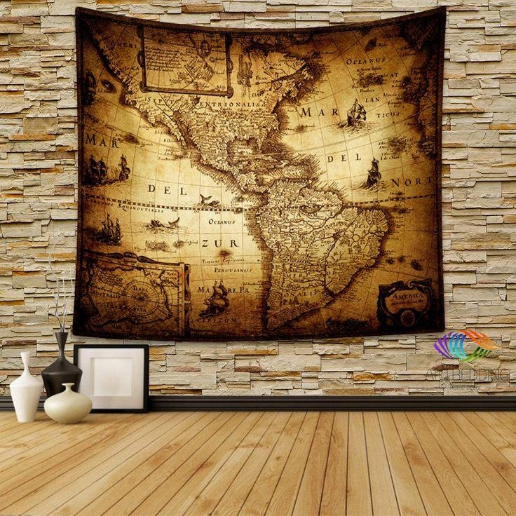 145 Best Vintage Antique World Map Decor, Wall Art Prints And Regarding Map Wall Art Prints (Image 2 of 20)