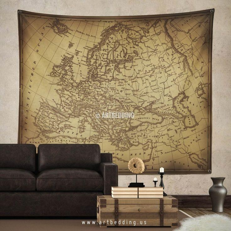 145 Best Vintage Antique World Map Decor, Wall Art Prints And With Europe Map Wall Art (Image 1 of 20)