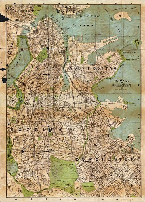 15 Best Boston Antique Maps Wall Art Images On Pinterest | Antique With Boston Map Wall Art (View 16 of 20)