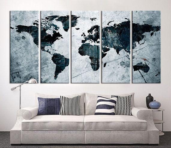 17 Best Large Wall Art World Map Canvas Print Images On Pinterest Throughout Large World Map Wall Art (Image 2 of 20)