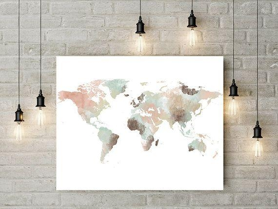 17 Best World Maps Images On Pinterest | World Maps, Water Colors Pertaining To Travel Map Wall Art (Image 1 of 20)
