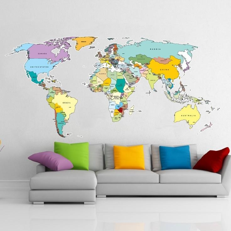 17 Cool Ideas For World Map Wall Art – Live Diy Ideas Inside World Map Wall Art Stickers (Image 1 of 20)
