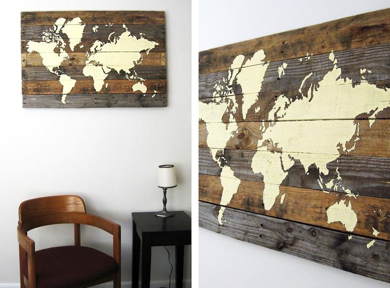 17 Cool Ideas For World Map Wall Art – Live Diy Ideas With Cool Map Wall Art (Image 4 of 20)