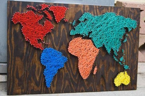 17 Creative Diy Map Tutorials | Art Nails, Walls And String Art With String Map Wall Art (Image 2 of 20)