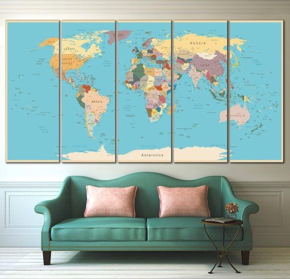 170 Best World & Country Maps Images On Pinterest | Country Maps Pertaining To Personalized Map Wall Art (Image 1 of 20)