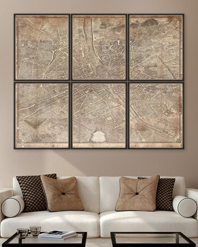 1739 Plan De Paris Map Set Of 6 Framed Art – Framed Art – Wall Art With Paris Map Wall Art (Image 1 of 20)