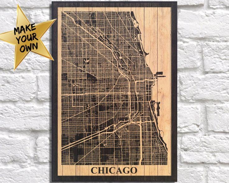 18 Best City Travel Maps Images On Pinterest | Travel Cards With Chicago Map Wall Art (Image 1 of 20)