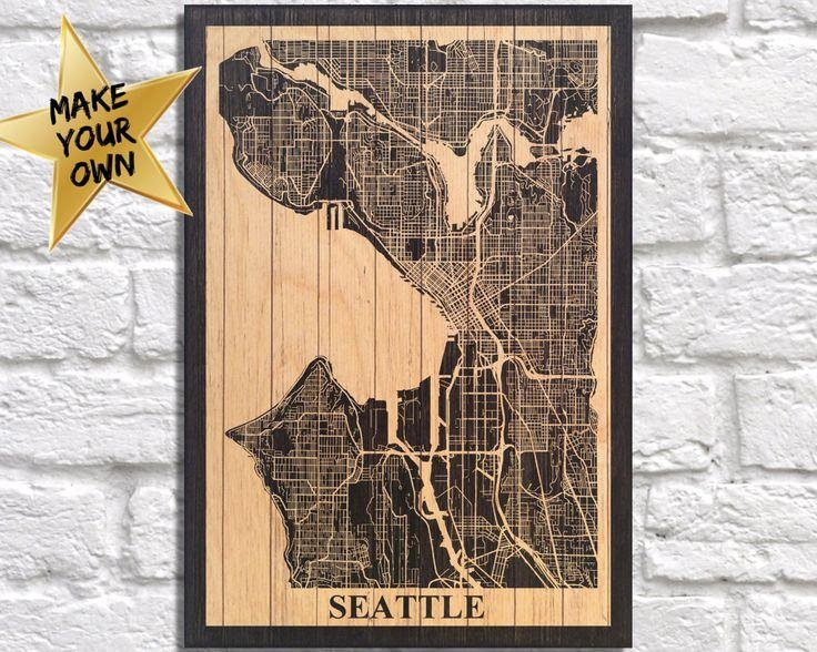18 Best City Travel Maps Images On Pinterest | Travel Cards Within Seattle Map Wall Art (View 10 of 20)