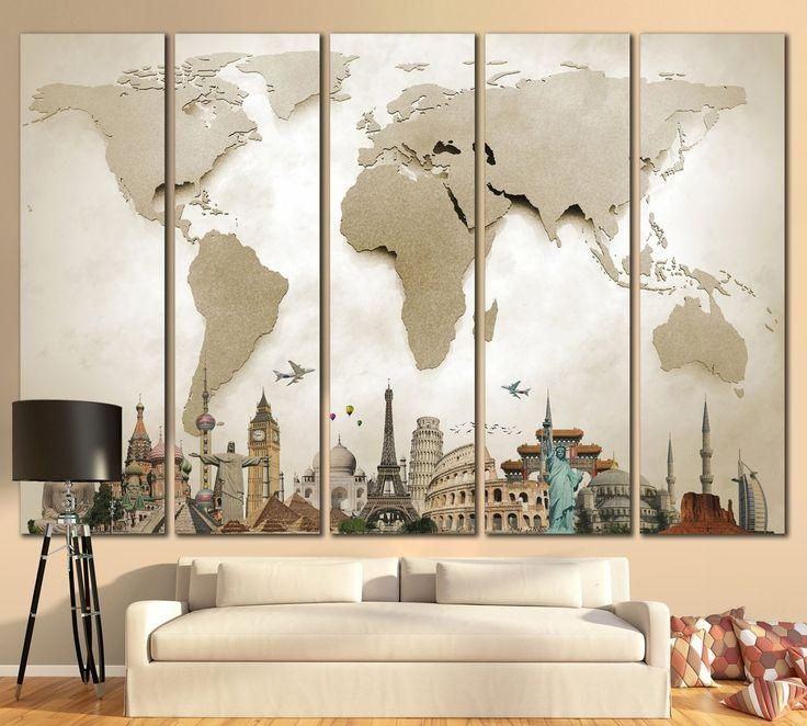 20 Best Extra Large Wall Art World Map Images On Pinterest | Maps With Regard To Large World Map Wall Art (Image 3 of 20)