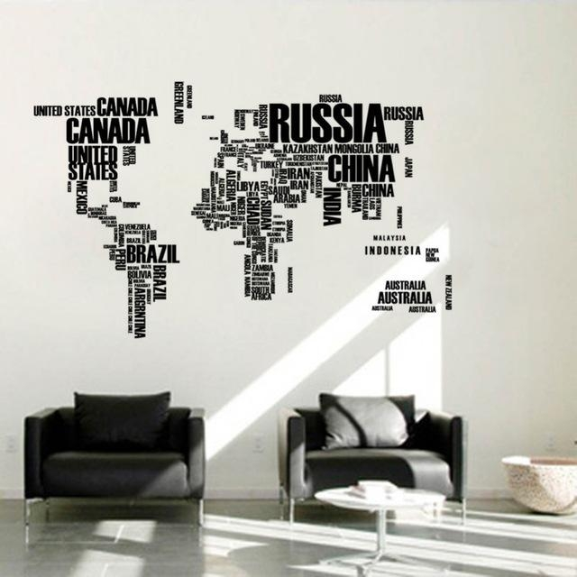 2016 Large Size World Map Wall Sticker Creative Letters Map Of The Pertaining To World Map Wall Art Stickers (Image 2 of 20)