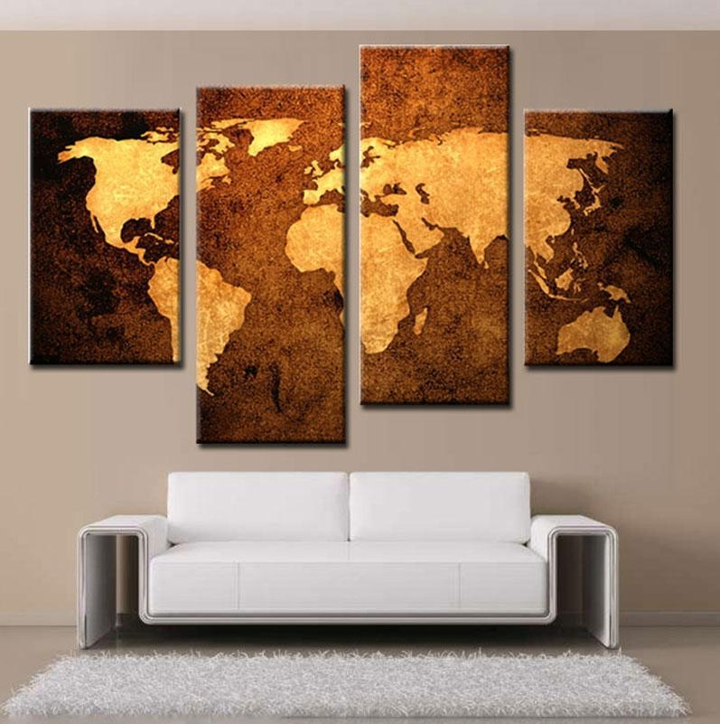 2018 4 Picture Combination Prints Canvas Old Map Wall Art Canvas Inside Old Map Wall Art (Image 2 of 20)