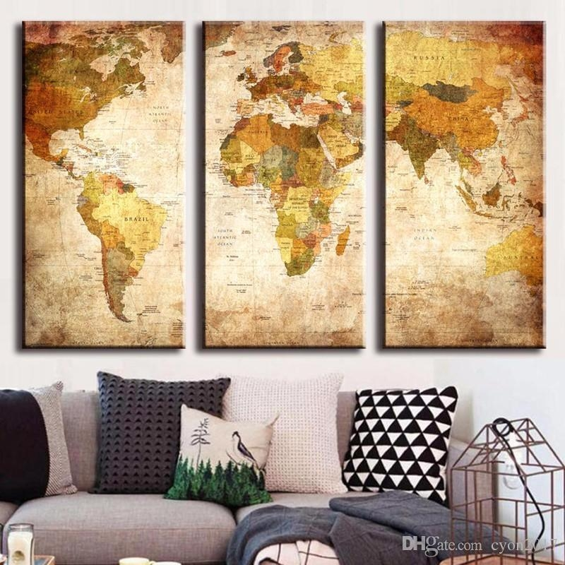 2018 Hot Sell 3 Panel Vintage World Map Canvas Painting Oil Regarding Vintage World Map Wall Art (Image 3 of 20)
