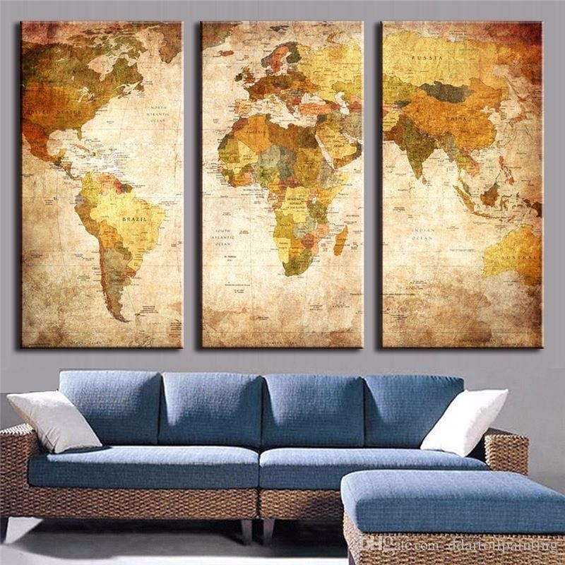 2018 Large Canvas Painting World Map Office Home Decoration For Regarding Large Map Wall Art (Image 1 of 20)