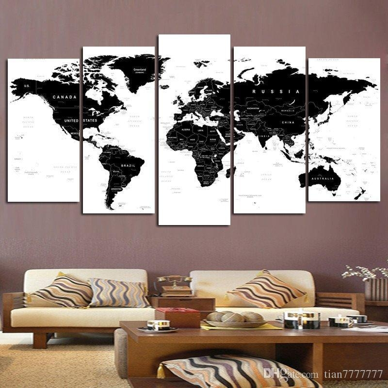 2018 New World Map Wall Art Painting On Canvas 5 Panel No Frame With Personalized Map Wall Art (Image 3 of 20)