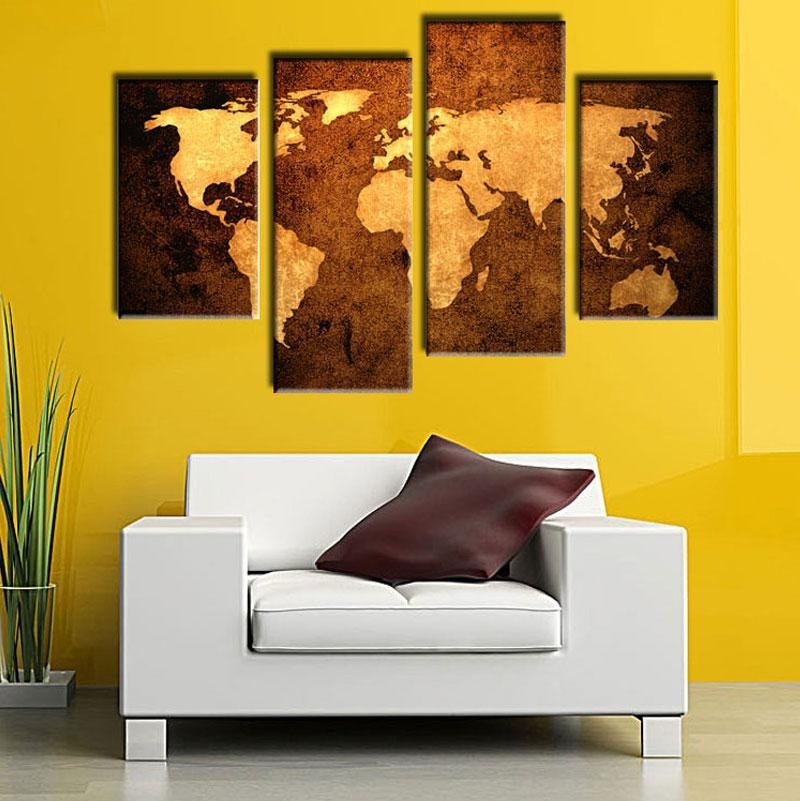 2018 Old Map Wall Art Painting Print On Canvas The Picture Murals Within Old Map Wall Art (Image 3 of 20)