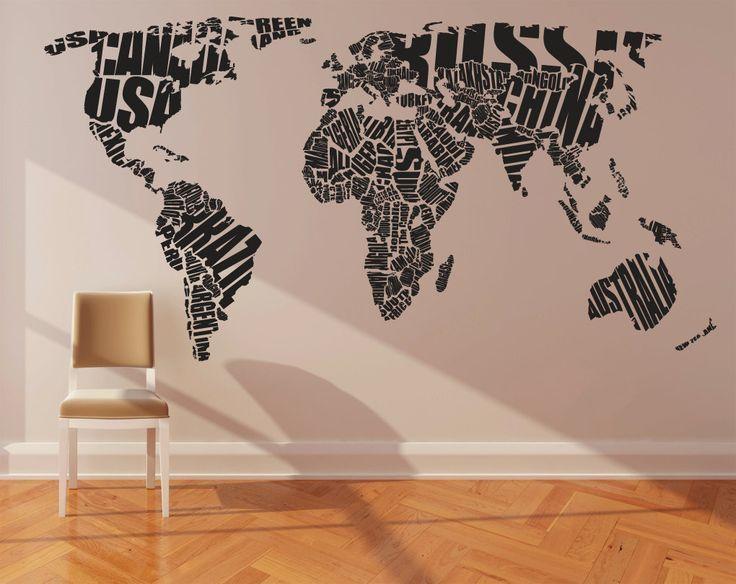 204 Best World Map Art Images On Pinterest | Tattoo Ideas, World Inside Cool Map Wall Art (Image 6 of 20)