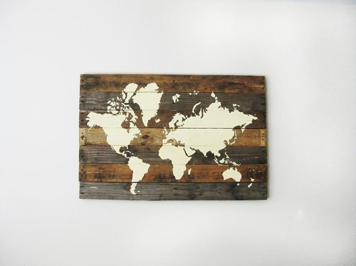 21 Diy Wood Wall Art Pieces For Any Room And Interior – Shelterness Throughout Wood Map Wall Art (Image 1 of 20)