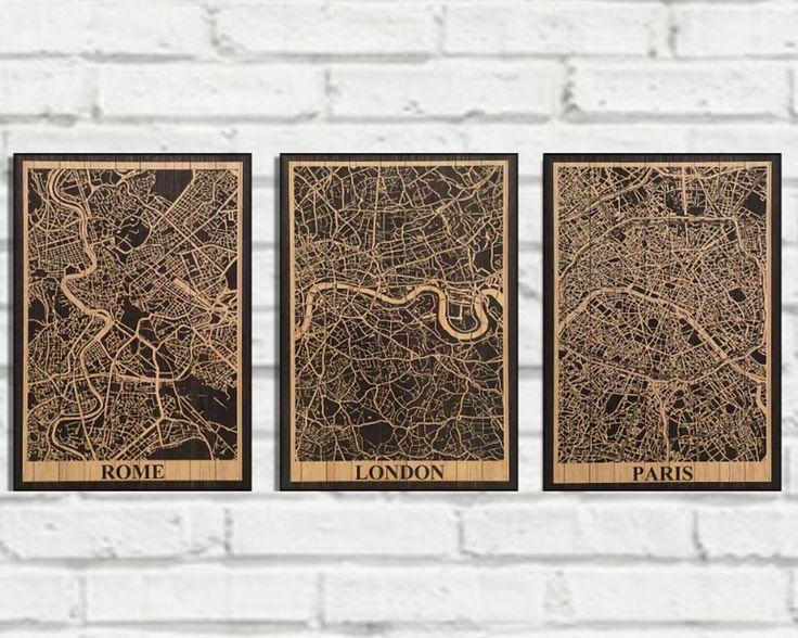 22 Best Wood Wall Art Flags & Map Art Images On Pinterest | Wood Regarding City Prints Map Wall Art (Image 3 of 20)