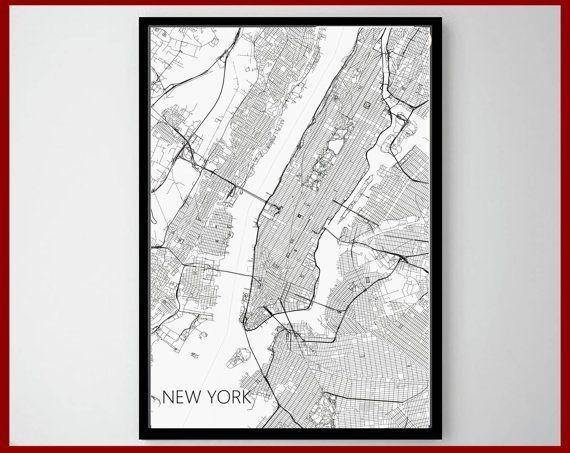 23 Best World Map Art Print Images On Pinterest | Maps Posters Pertaining To New York Map Wall Art (Image 1 of 20)