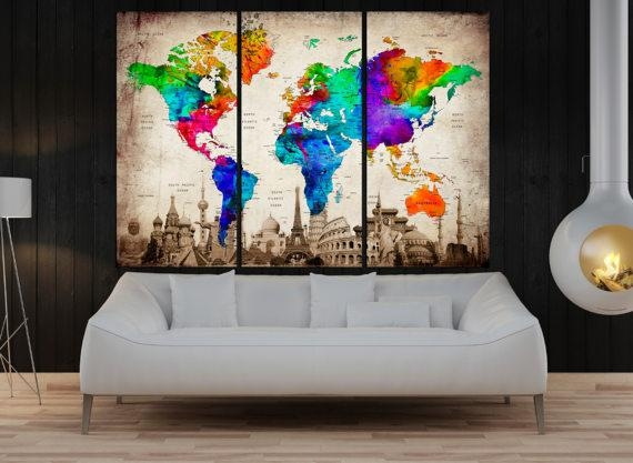 3 Panel Push Pin World Map Wall Art Canvas Framed Art Print In Travel Map Wall Art (Image 2 of 20)