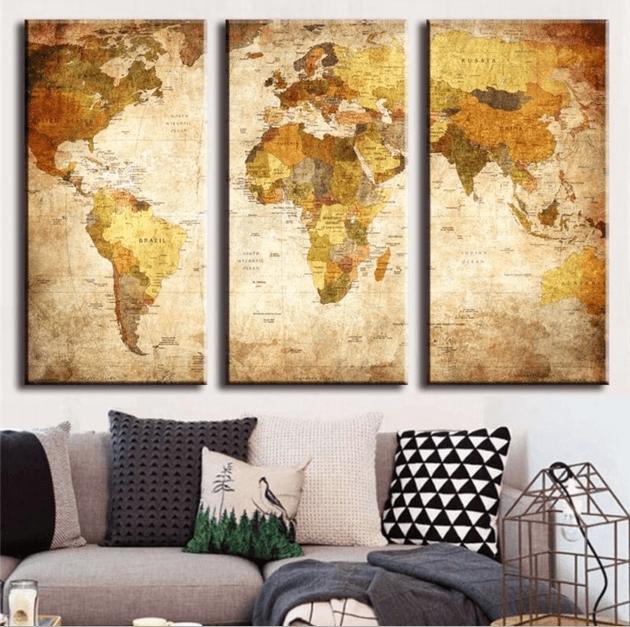 "3 Panel ""retro World Map"" Canvas Wall Art | Octotreasure With Regard To World Map Wall Art Canvas (Image 4 of 20)"