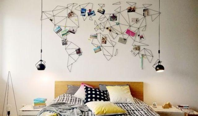 31 Cool Travel Themed Home Décor Ideas To Rock – Digsdigs For String Map Wall Art (Photo 8 of 20)