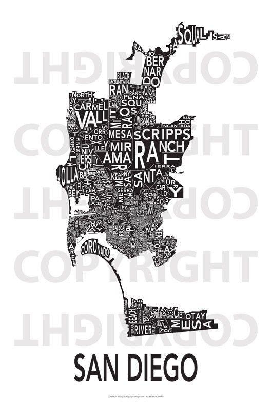 Featured Image of San Diego Map Wall Art