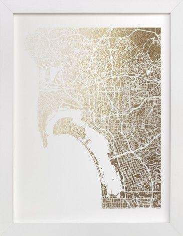 36 Best Foil Pressed Maps Images On Pinterest | Baby Announcements With San Diego Map Wall Art (Image 6 of 20)