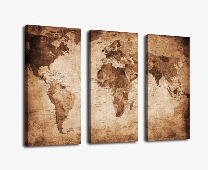 37 Eye Catching World Map Posters You Should Hang On Your Walls Inside Map Wall Art Canada (View 17 of 20)