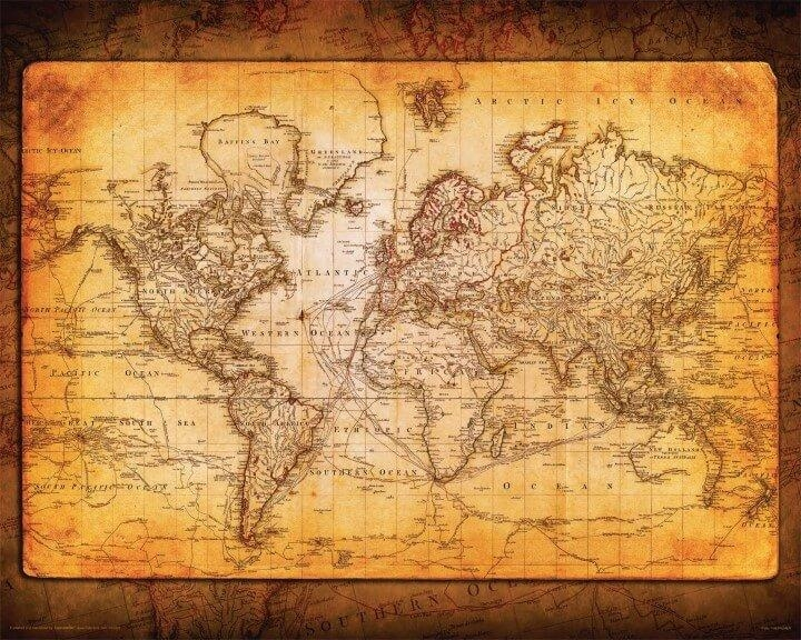 37 Eye Catching World Map Posters You Should Hang On Your Walls Within Vintage World Map Wall Art (Image 4 of 20)