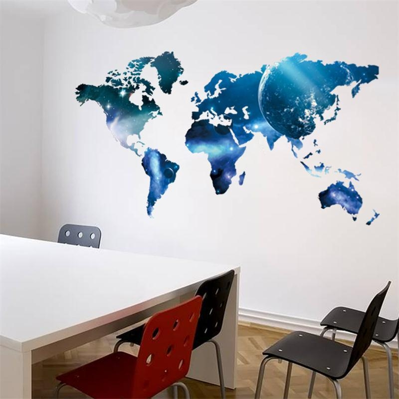 3D World Map Outer Space Star Sky Home Office Decal Wall Art Wall Intended For World Map Wall Art Stickers (Image 3 of 20)