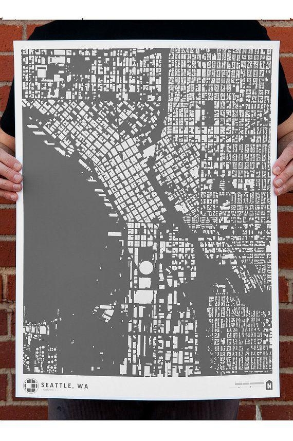 41 Best Cityfabric Civic Prints Images On Pinterest | Cards, Maps Inside Seattle Map Wall Art (View 14 of 20)