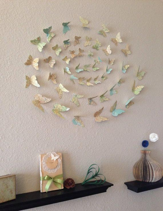 42 Best Silhouette Wall Art Images On Pinterest | 3D Wall Art Pertaining To Butterfly Map Wall Art (Photo 4 of 20)