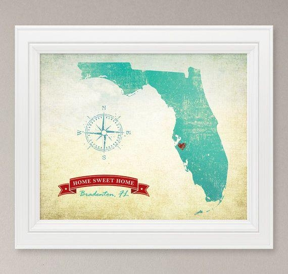 48 Best Our Bedroom Wall Images On Pinterest | Bedroom Wall Throughout Florida Map Wall Art (Image 2 of 20)