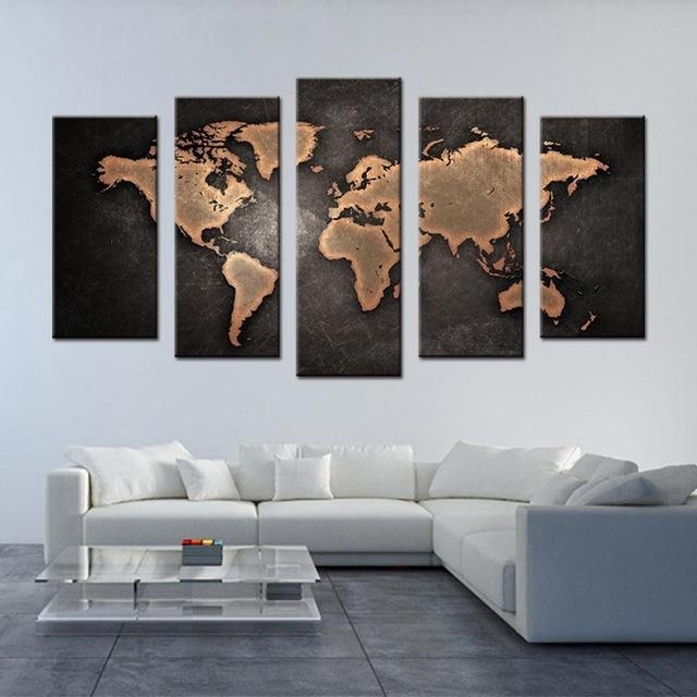 5 Pcs/set Framed Abstract Black World Map Wall Art Modern Global Intended For World Map Wall Art Canvas (Photo 18 of 20)