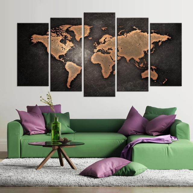 5 Pcs/set Modern Abstract World Map Wall Art Painting World Map With Regard To Abstract World Map Wall Art (Image 1 of 20)