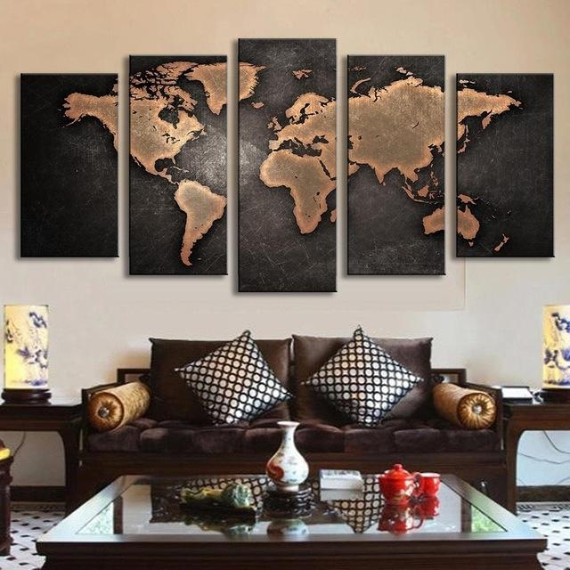 5 Pcs/set Vintage Abstract Wall Art Painting World Map Print On With Canvas Map Wall Art (Image 5 of 20)